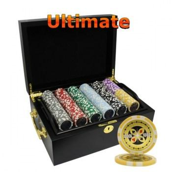 500PCS 14G LASER GRAPHIC ULTIMATE POKER CHIPS SET With MAHOGANY CASE