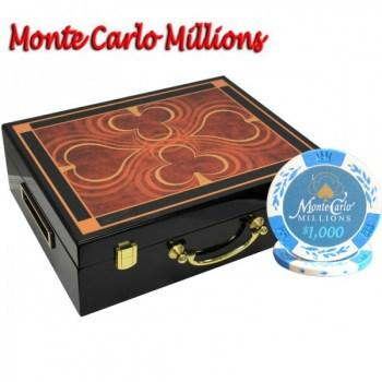 500PCS 14G MONTE CARLO MILLIONS POKER CHIPS SET With HIGH GLOSS WOOD CASE