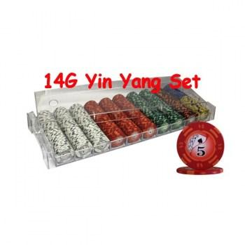 500PCS 14G YIN YANG DESIGN POKER CHIPS SET With ACRYLIC CASE--red