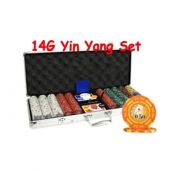 500PCS 14G YIN YANG DESIGN POKER CHIPS SET With ALUM CASE