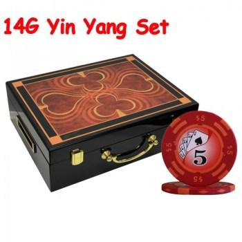 500PCS 14G YIN YANG DESIGN POKER CHIPS SET With HIGH GLOSS WOOD CASE