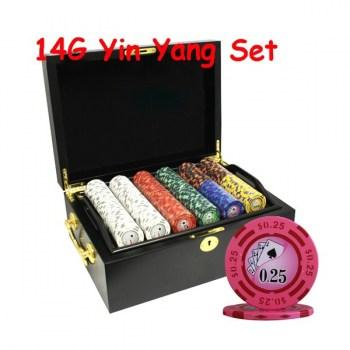 500PCS 14G YIN YANG DESIGN POKER CHIPS SET With MAHOGANY CASE