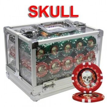 600PCS 13.5G SKULL POKER CHIPS SET With ACRYLIC CASE and CHIPS TRAYS