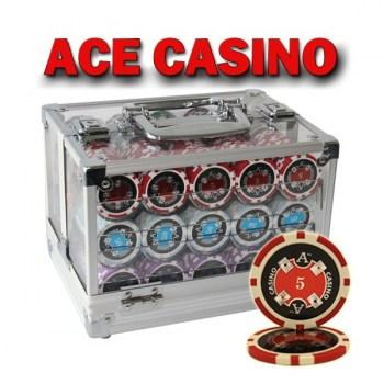 600PCS 14G LASER GRAPHIC ACE CASINO POKER CHIPS SET With ACRYLIC CASE and CHIPS TRAYS