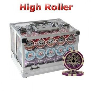 600PCS 14G LASER GRAPHIC HIGH ROLLER POKER CHIPS SET With ACRYLIC CASE and CHIPS TRAYS