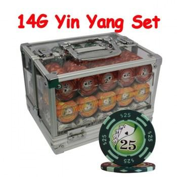 600PCS 14G YIN YANG DESIGN POKER CHIPS SET With ACRYLIC CASE and CHIPS TRAYS