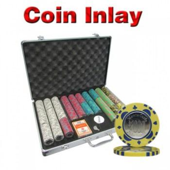 650PCS 12G MONTE CARLO COIN INLAY POKER CHIPS SET With ALUM CASE
