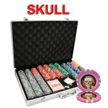 650PCS 13.5G SKULL POKER CHIPS SET WITH ALUM CASE