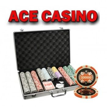 650PCS 14G LASER GRAPHIC ACE CASINO POKER CHIPS SET With ALUM CASE