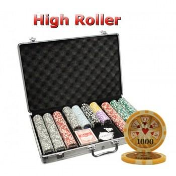 650PCS 14G LASER GRAPHIC HIGH ROLLER POKER CHIPS SET With ALUM CASE