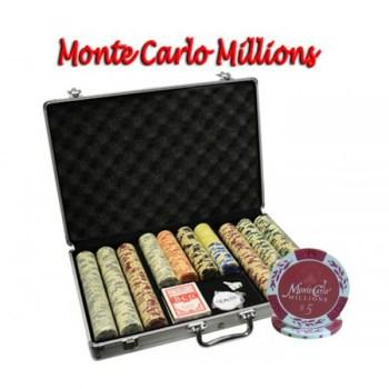 650PCS 14G MONTE CARLO MILLIONS POKER CHIPS SET With ALUM CASE