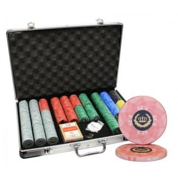 650pcs LAUREL CROWN CERAMIC POKER CHIPS SET ALUMINUM CASE