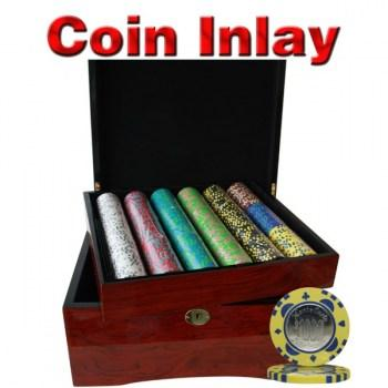 750PCS 12G MONTE CARLO COIN INLAY POKER CHIPS SET With MAHOGANY CASE