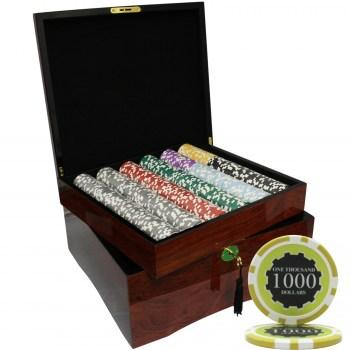 750PCS 14G ECLIPSE POKER CHIPS SET WITH MAHOGANY CASE