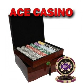 750PCS 14G LASER GRAPHIC ACE CASINO POKER CHIPS SET With MAHOGANY CASE