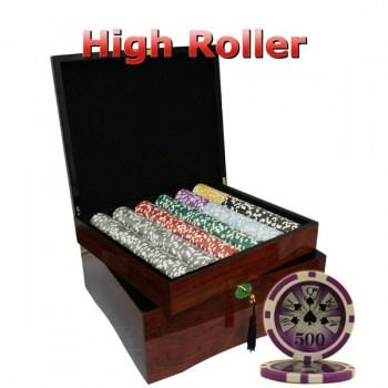 750PCS 14G LASER GRAPHIC HIGH ROLLER POKER CHIPS SET With MAHOGANY CASE