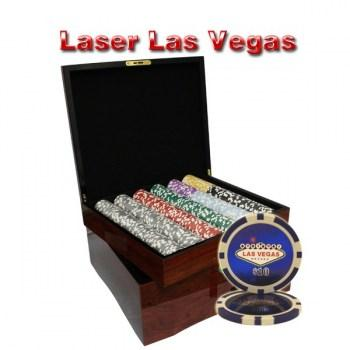 750PCS 14G LASER GRAPHIC LAS VEGAS POKER CHIPS SET With MAHOGANY CASE