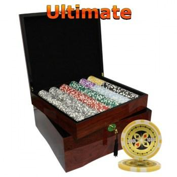 750PCS 14G LASER GRAPHIC ULTIMATE POKER CHIPS SET With MAHOGANY CASE