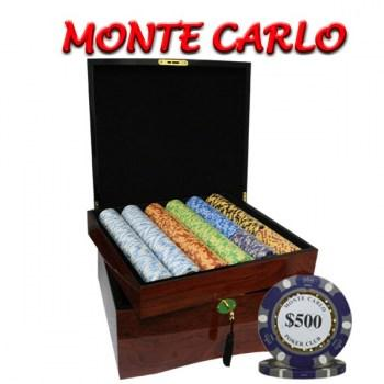 750PCS 14G MONTE CARLO POKER CLUB POKER CHIPS SET With MAHOGANY CASE