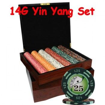 750PCS 14G YIN YANG DESIGN POKER CHIPS SET With MAHOGANY CASE