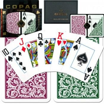 Copag 1546 Poker Size GreenBurgundy Jumbo Index_1
