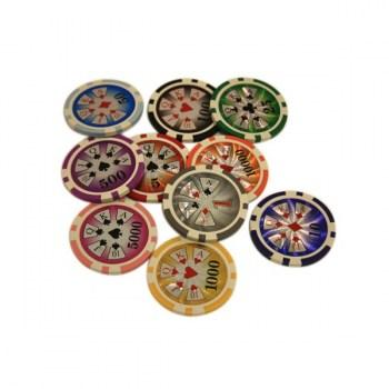 POKER CHIPS SAMPLE SET 10PCS HIGH ROLLER CHIPS-1