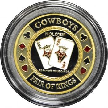 Poker card guard cowboys pair of kings gold token card