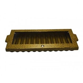Professional Aluminum Poker Chip Tray and Locking Cover (12 Row  720 Chip) Hammered Gold_1