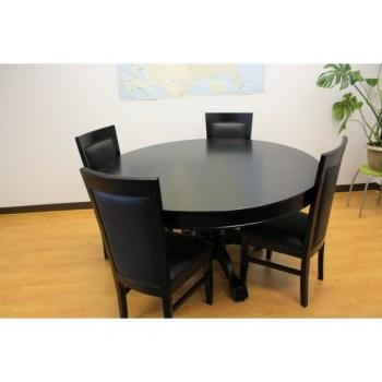 THE MYSTIC ROUND POKER TABLE WITH DINING TOP BLACK PLUS 4 CHAIRS_1