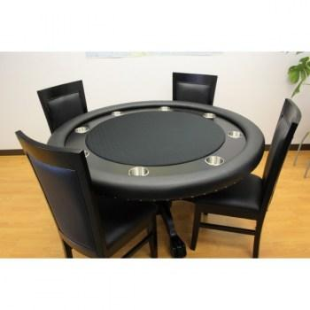 THE MYSTIC ROUND POKER TABLE WITH DINING TOP BLACK PLUS 4 CHAIRS_4
